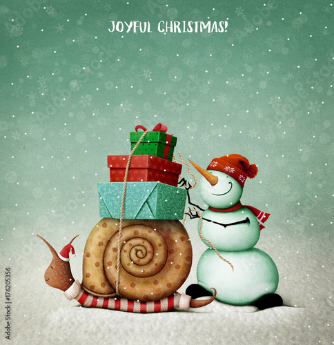 Holiday greeting card with  Snail , Snowman and gifts for Christmas or New Year