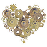 heart shape symbol from brass gears isolated on white - 176208757