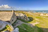 Ancient customs house between rocks at Menez-Ham, Brittany, France