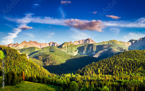 Stunning sunset in mountains in Poland in summer, Europe