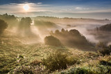 Amazing dawn at foggy valley in autumn - 176213345