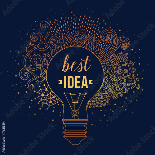 Light bulb made of handdrawn doodles, creative concept Poster