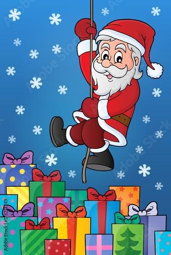 Deurstickers Voor kinderen Climbing Santa Claus theme image 9