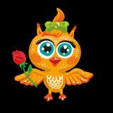 Vector cute owl. Cartoon character. Bird holding a rose flower.