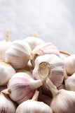 Garlic on grey wooden table - 176218560