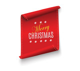 Red realistic detailed curved paper Merry Christmas banner isolated on white background. Vector illustration. - 176219131