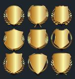 Golden shield retro design vector illustration collection - 176219181