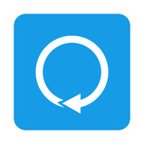 Icono plano flecha circular en cuadrado azul - 176219182