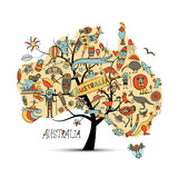Australian map tree with icons set, sketch - 176220908