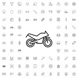 Motorcycle icon. set of outline sport icons.