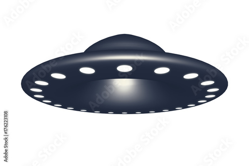 Deurstickers UFO Alien spaceship ufo isolated on white background 3d rendering.