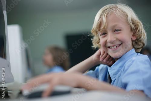 School boy at computer