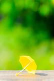 黄色い傘と緑ぼかし背景