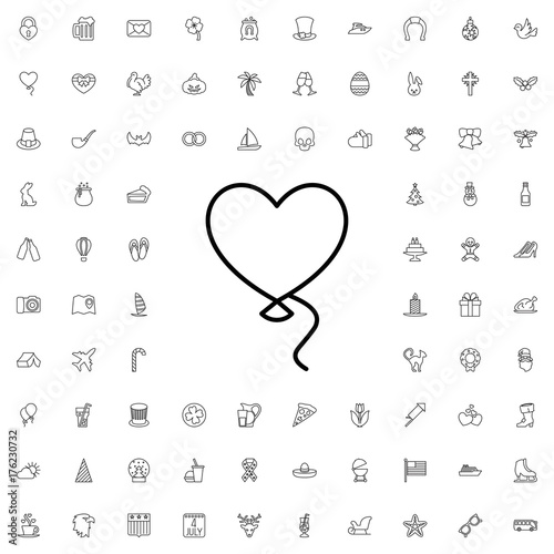 Balloon icon. set of outline holiday icons.