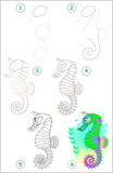 Page shows how to learn step by step to draw a seahorse. Developing children skills for drawing and coloring. Vector image.