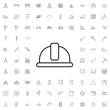 Safety helmet icon. set of outline construction icons.