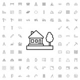 House icon. set of outline construction icons. - 176234729