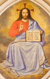 LONDON, GREAT BRITAIN - SEPTEMBER 17, 2017: The fresco of Jesus Christ the Teacher in church St. Martin, Ludgate by unknown artist. - 176234751