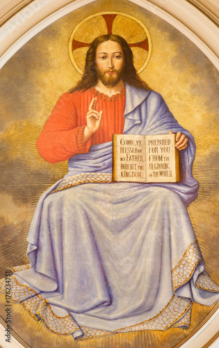 Fridge magnet LONDON, GREAT BRITAIN - SEPTEMBER 17, 2017: The fresco of Jesus Christ the Teacher in church St. Martin, Ludgate by unknown artist.