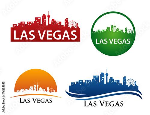 Fotobehang Las Vegas Las Vegas City Skyline Logo Template