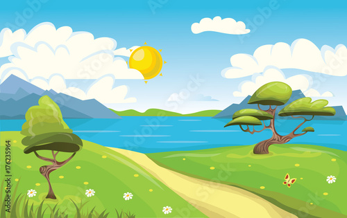 Fotobehang Boerderij Cartoon landscape. Mountains, sea or lake, trees and dirt road. Blue sky with white clouds and sun. Vector Illustration.