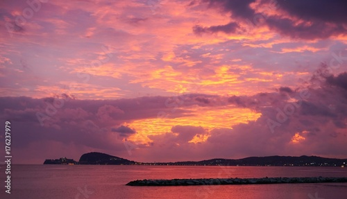 Poster Candy roze Sunset sky in Gaeta