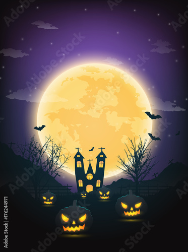 Poster Snoeien Halloween night background with pumpkin, naked trees, bat haunted house and full moon on dark background