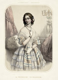 Old illustration of a beautiful woman wearing vintage clothes. By  Alophe, publ. in New York, 1851 - 176245555