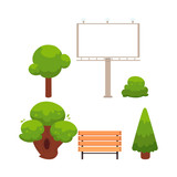 vector flat cartoon stylized urban cityscape objects set - well-groomed park trees with rich foliage, wooden bench and empty illuminated outdoor billboard . Isolated illustration on a white background