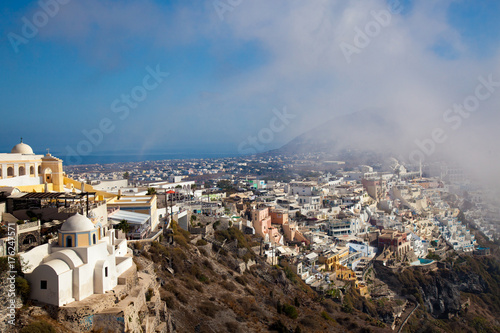 Foto op Aluminium Santorini Village of Oia in Santorini Greece fog