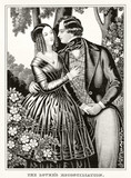 Old illustration depicting reconciliation between man and woman in love. Publ. 1846 - 176247931