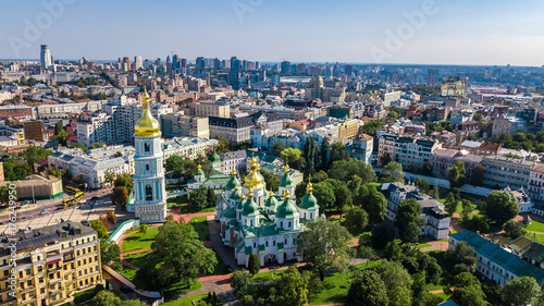 Foto op Plexiglas Kiev Aerial top view of St Sophia cathedral and Kiev city skyline from above, Kyiv cityscape, capital of Ukraine