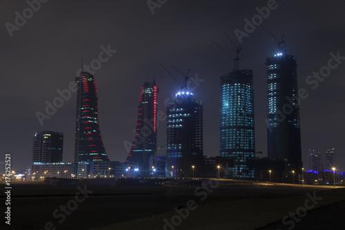 Night skyline of Manama, the Capital city of Bahrain Poster