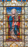 LONDON, GREAT BRITAIN - SEPTEMBER 14, 2017: The Virgin Mary on the stained glass in the church St. Edmund the King from 19. cent. - 176252915