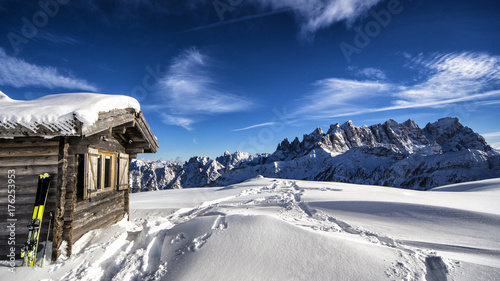 Spoed canvasdoek 2cm dik Nachtblauw Winter landscape
