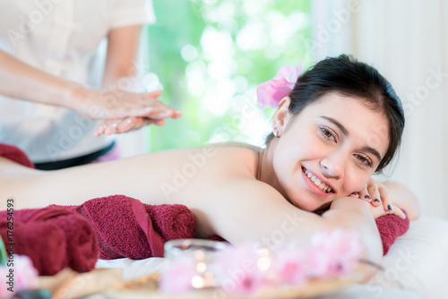 Fotobehang Spa Yougn Asian woman relaxing with hand spa massage at beauty spa salon..