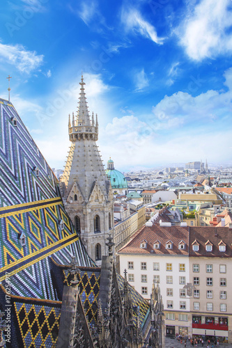 Foto op Canvas Wenen View of the city from the observation deck of St. Stephen's Cathedral in Vienna, Austria