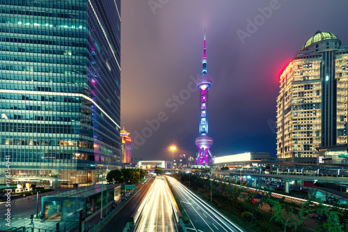 Shanghai skyline cityscape, View of shanghai at Lujiazui finance and business di Poster
