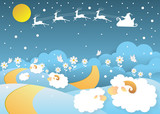 landscape sheep in a field with santa claus in winter,paper art style - 176255574