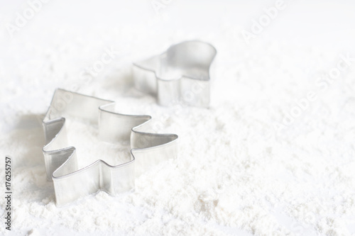Christmas food concept with a tree cake mold on white background