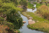 fluent river with rocks, vegetation, fisherman and boat in africa. Lubango. Angola. - 176257166