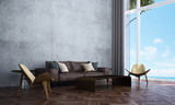 The interior design of lounge and living room and white wall texture and sea view / 3D rendering new scene new mode