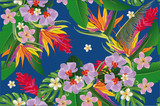 Design of tropical background with palm leaves and flowers. - 176258120