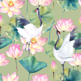 Watercolor seamless pattern with crane and flower lotus. Traditional design. Hand drawn illustration