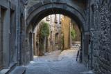 Dettaglio di un arco che unisce due palazzi in uno stretto vicolo medievale. Questa via si trova nel centro storico di Viterbo e precisamente nel quartiere San Pellegrino. - 176260957