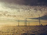 Wind turbines power generator farm along coast sea - 176267329