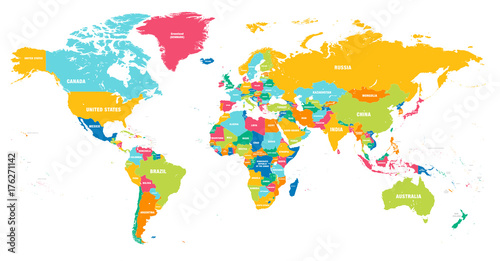 Colorful Vector world map - 176271142