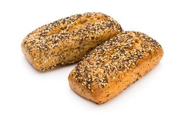 Freshly baked bread isolated on white background.