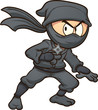Cartoon ninja holding a star. Vector clip art illustration with simple gradients. All in a single layer. - 176271969