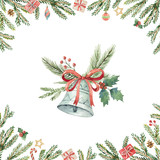 Watercolor Christmas vector card with bell and fir branches. - 176272726